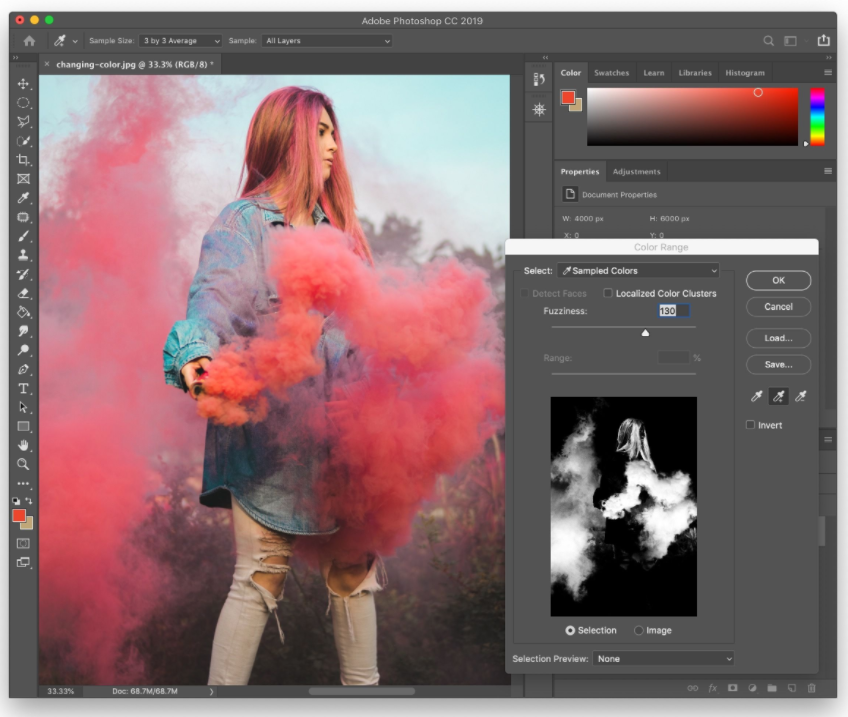 Desaturating Individual Colors Using the Color Color Range Tool